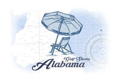 Gulf Shores, Alabama - Beach Chair and Umbrella - Blue - Coastal Icon