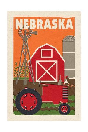 Nebraska - Country - Woodblock