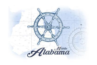Mobile, Alabama - Ship Wheel - Blue - Coastal Icon