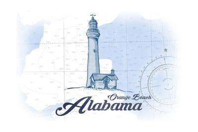 Orange Beach, Alabama - Lighthouse - Blue - Coastal Icon