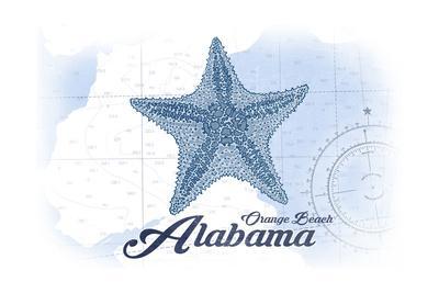 Orange Beach, Alabama - Starfish - Blue - Coastal Icon