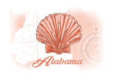 Alabama - Scallop Shell - Coral - Coastal Icon