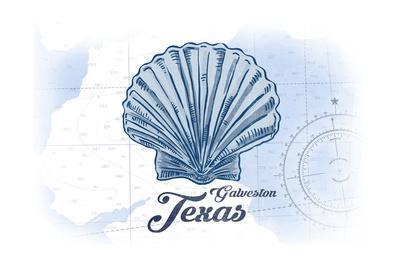 Galveston, Texas - Scallop Shell - Blue - Coastal Icon