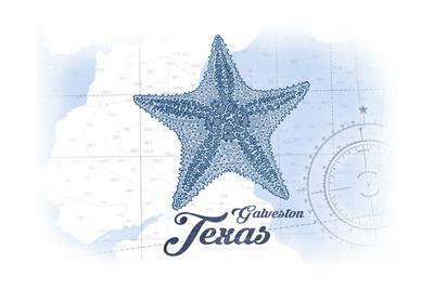 Galveston, Texas - Starfish - Blue - Coastal Icon