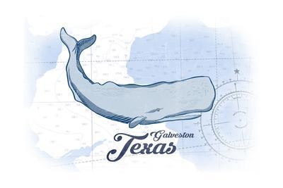 Galveston, Texas - Whale - Blue - Coastal Icon
