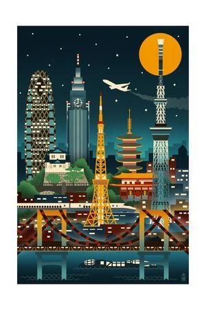 Tokyo, Japan - Retro Skyline (no text)