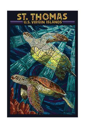 St. Thomas, U.S. Virgin Islands - Sea Turtle Mosaic