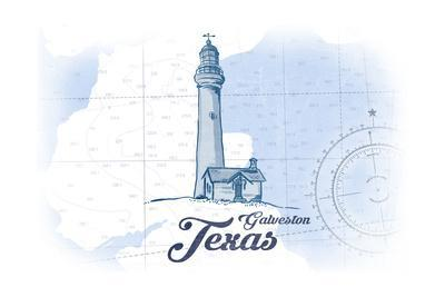 Galveston, Texas - Lighthouse - Blue - Coastal Icon
