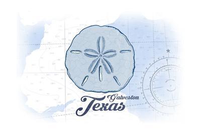 Galveston, Texas - Sand Dollar - Blue - Coastal Icon