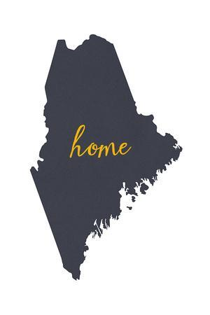 Maine - Home State- Gray on White