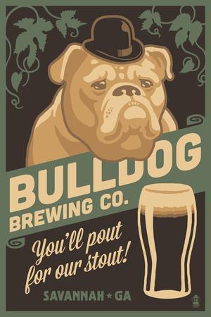 Savannah, Georgia - Bulldog - Retro Stout Beer Ad