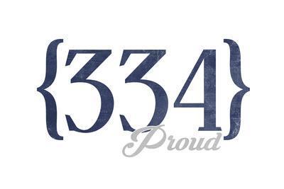 Montgomery, Alabama - 334 Area Code (Blue)