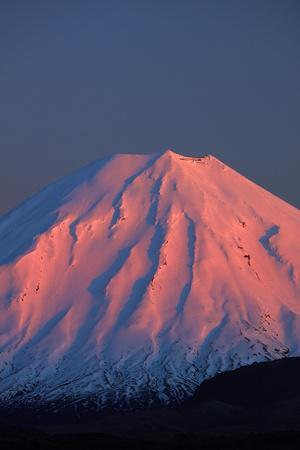 Alpenglow on Mt. Ngauruhoe at dawn, Tongariro NP, Central Plateau, N Island, New Zealand