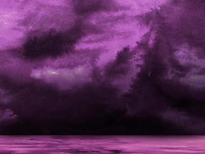 Ocean and Purple Sky Watercolor II