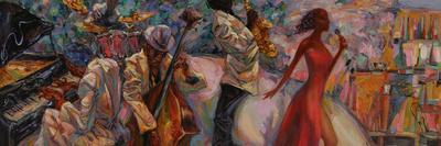 Jazz Singer, Jazz Club, Jazz Band,Oil Painting, Artist Roman Nogin, Series Sounds of Jazz. Looking
