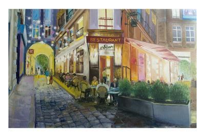 Old Cafe in Paris, Oil Painting of the Street Saint Andre, Painting Cafe Bistro