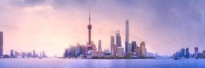 Beautiful Chinese Cityscape of Shanghai's Skyline with the City Lights and Tower on the Huangpu Riv