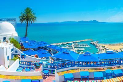 Sidi Bou Said is the Scenic Village, Located on the Hilltop and Popular among Tourists, Visiting Tu