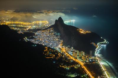 Night View from the Top of Pedra Da Gavea Mountain in Tijuca Forest National Park, Rio De Janeiro,