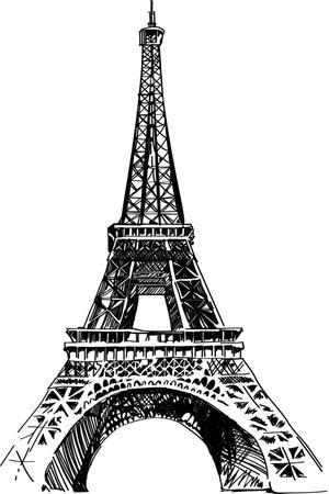 Modern Vector Illustration of Eiffel Tower. Black and White Vector Illustration. Romantic Symbol In