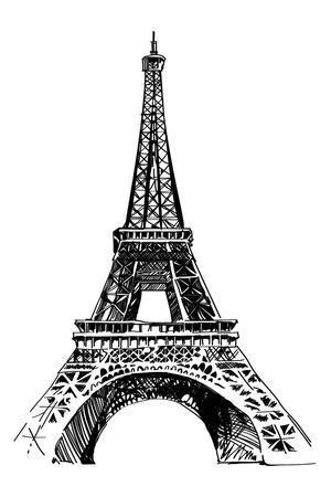 Modern Vector Illustration of Eiffel Tower. Black and White Vector Illustration. Romantic Symbol In