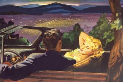 Couple in Convertible Overlooking City