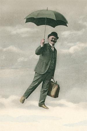 Man with Umbrella on Cloud
