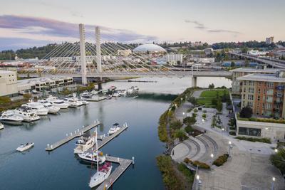 USA, Washington State, Tacoma. Thea Foss Waterway, marina and cable-stayed SR 509 bridge.