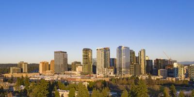 USA, Washington State, Bellevue. Skyscrapers and downtown skyline.