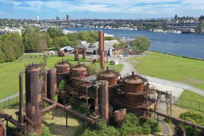 USA, Washington State, Seattle, rusted gas tanks at Gas Works Park and Lake Union.