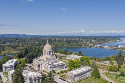 USA, Washington State, Olympia. State Capitol and Budd Bay Inlet.