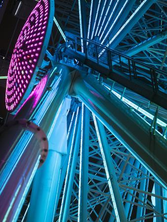 USA, Washington State, Seattle, ferris wheel at night.