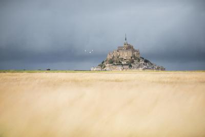 Mont Saint Michel under grey sky