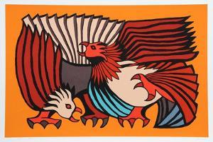 Orange Fighting Cocks by Victor Delfin