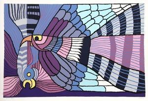 Purple Fighting Cocks by Victor Delfin