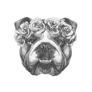 original drawing of english bulldog with floral head wreath isolated on white backgroundvictoria_novak