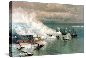 Vintage American Civil War Print of the Battle of Mobile Bay