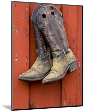 Worn Cowboy Boots Hanging, Ponderosa Ranch, Seneca, Oregon, USA by Wendy Kaveney