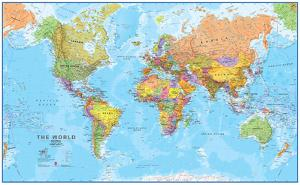 World maps posters and prints at art world megamap 120 wall map laminated educational poster gumiabroncs Choice Image